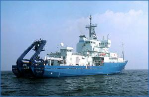 The research vessel Atlantis, operated by WHOI