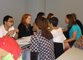 participants discuss interactive exercises