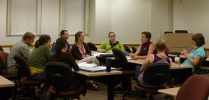 Small group discussion moving research forward at Career Prep 2011 workshop