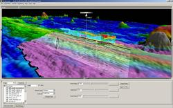 Screen shot from Fledermaus showing bathymetry, subbottom seismic data, sensor locations, and water column data from the East Pacific Rise