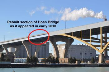 Annotated photo of repaired part of Hoan Bridge