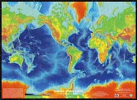 Topographic/bathymetric map of the Earth