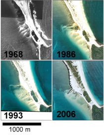 Figure 2: Georectified aerial photos showing the evolution of the sandwave between 1968 and 2006. The dots on the 2006 photo represent measurements taken with RTK-GNSS in April 2008 (modified from Vila-Concejo et al., 2009).
