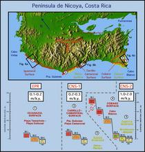 Nicoya Peninsula Coastal Terrace Study Sites and Uplift Data
