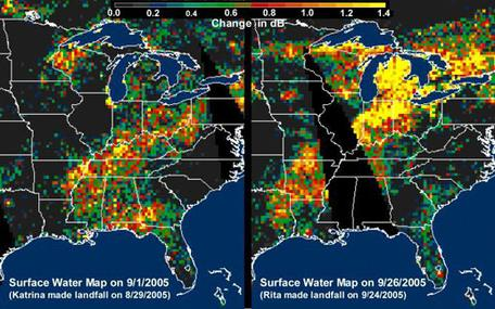 Storm Tracker Map of Hurrican Katrina and Hurricane Rita