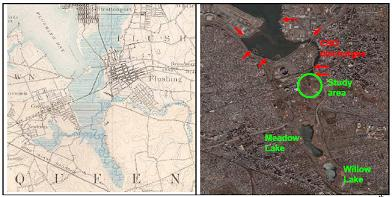 change in land use surrounding an urban estuary in Flushing NY