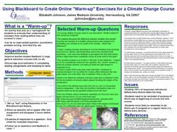Using blackboard to create online warm up exercises for a climate change course