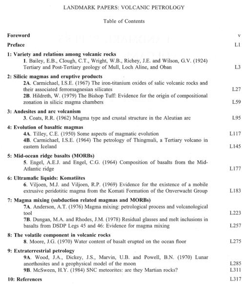 Table of Contennts Landmark Papers in Volcanic Petrology