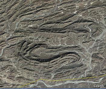 the Makran, nr. Baluchani Kash, Pakistan, faulted folds