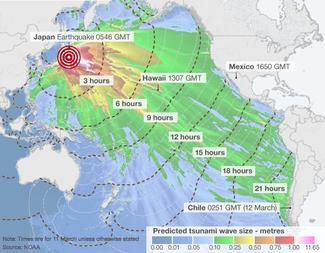 2011 Japan earthquake and tsunami travel times/wave height map