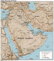Relief map of Saudi Arabia and surrounding countries.