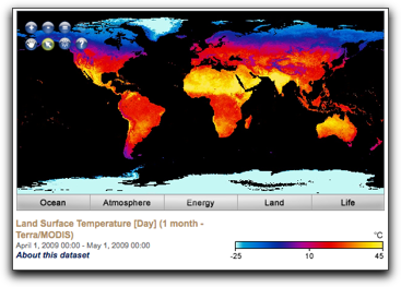 land surface temperature map