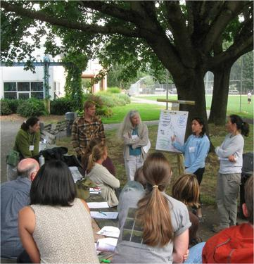 faculty from Seattle-area colleges and universities report out on during an environmental justice walking tour
