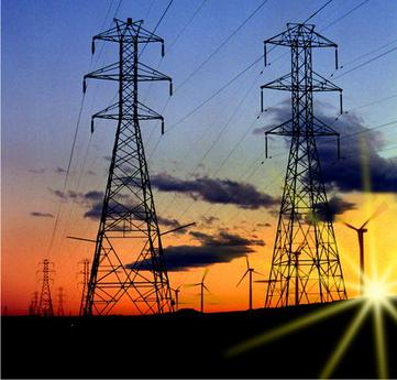 Electricity towers and wind turbines