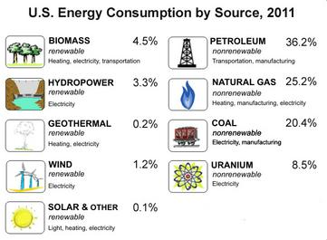 US Energy consumption by source, 2011