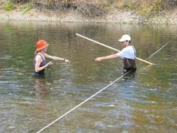 Students measure discharge in the Cannon River