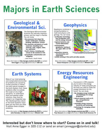 Recruitment poster for all 4 earth science majors at Stanford