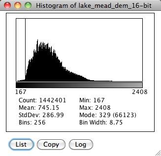 Lake Mead 16-bit Histogram