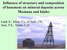 thumbnail of a slide from the talk: Influence of structure and composition of basement on mineral deposits across Montana and Idaho