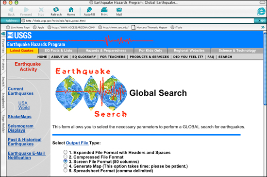 Global earthquake search at USGS E