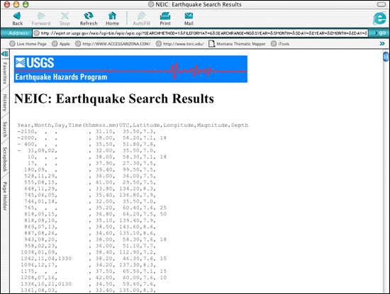 Search results displayed for significant worldwide earthquakes with a magnitude of 7.0 or greater