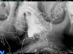 Water vapor GOES image of the 48 contiguous states.