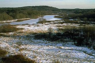 The Sudbury River flowing through a broad valley in winter.