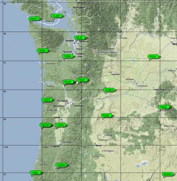 Cascadia Map with GPS Stations