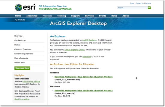 Arc Explorer downloads window