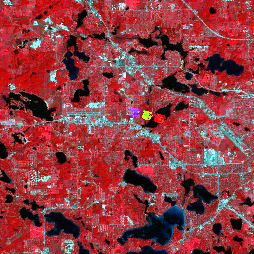 Landsat 1992 15 km section centered on Waterford, MI