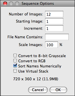 ImageJ Sequence Options