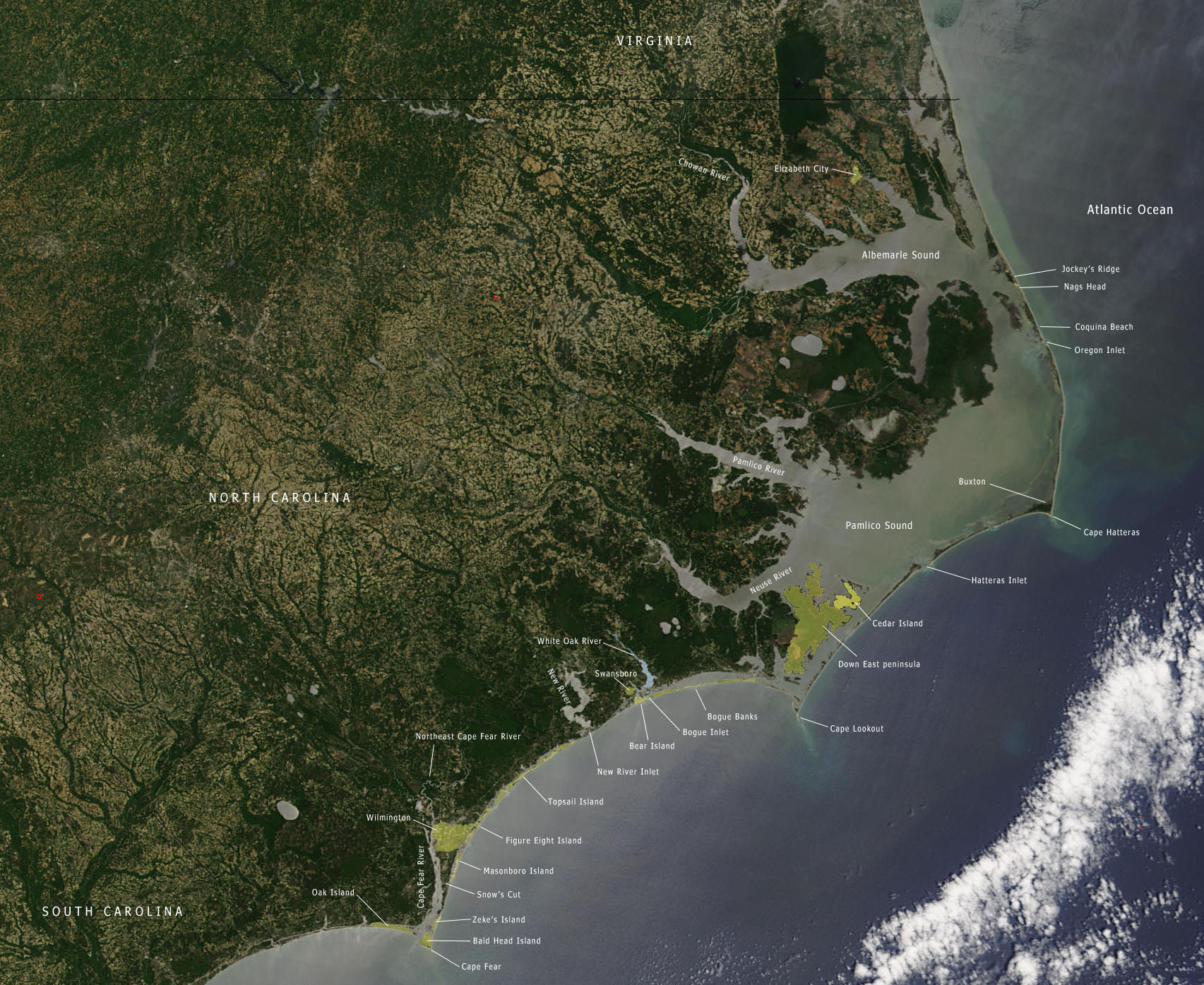 Outer Banks North Carolina Islands Size