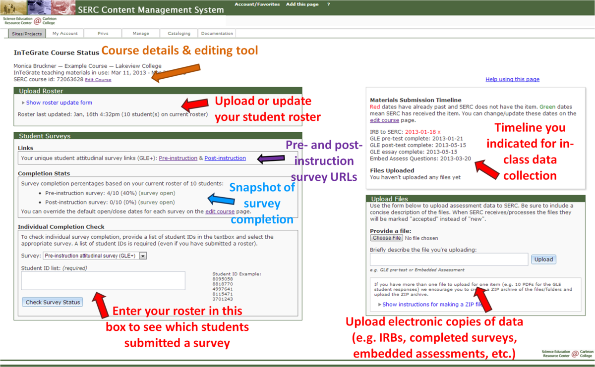 Annotated Course Status Page 2
