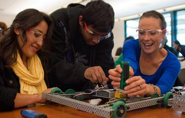 Students work on building robots