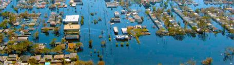 View of flooded New Orleans, Louisiana in the aftermath of Hurricane Katrina