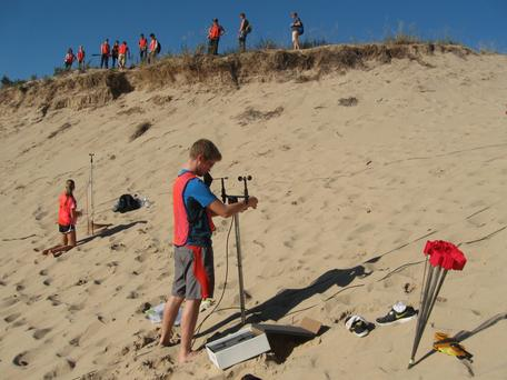 Photo of FYRES students setting up a wind study