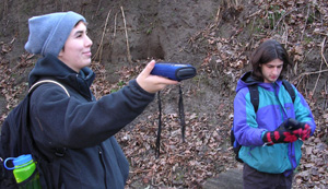 Two students at work with GPS receivers