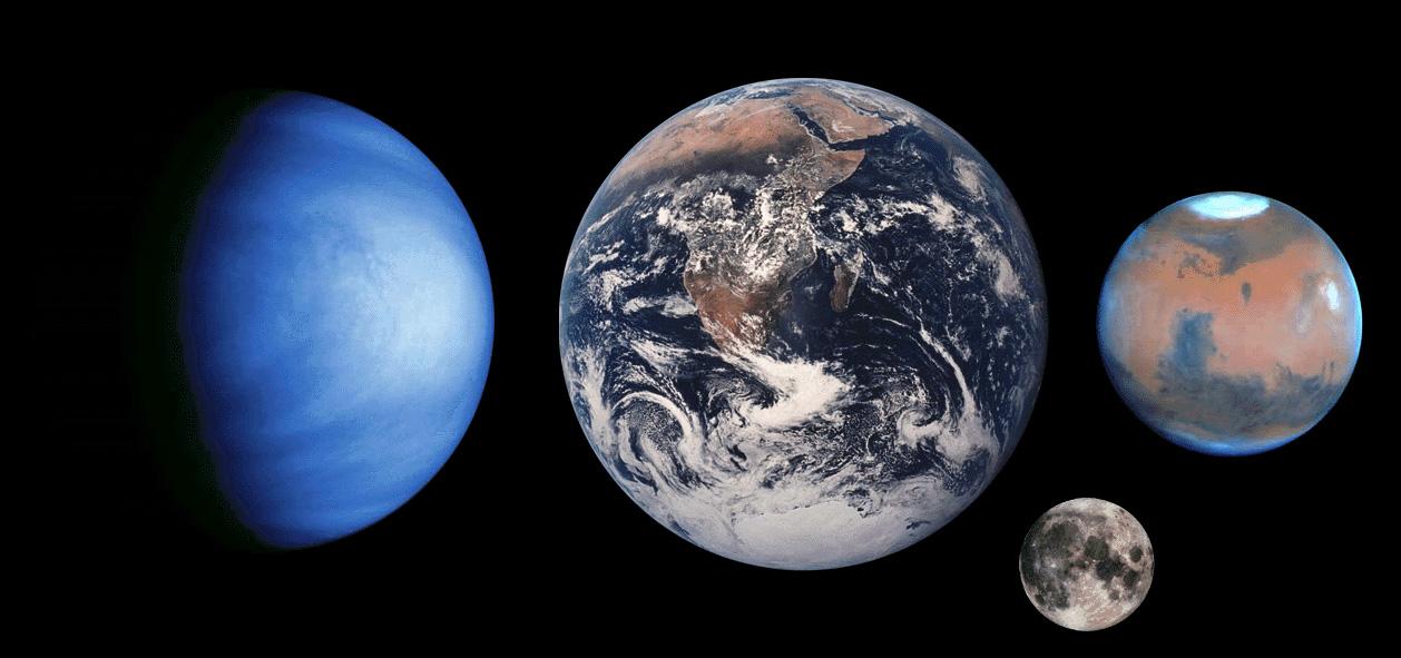 Venus Earth Moon Mars