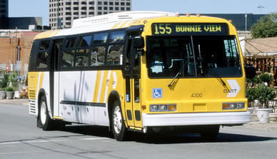 A bus fueled by liquid natural gas in Dallas, TX