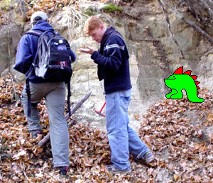 Monster6 helps students at an outcrop