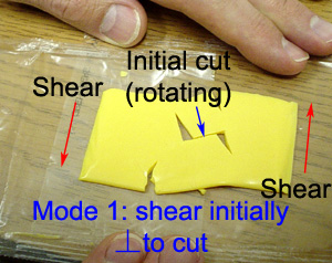 Mode 1 stress perpendicular to cut