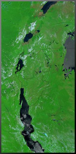 The lakes of the Great Rift Valley in Africa. Photo courtesy of Jacques Descloitres, MODIS Land Rapid Response Team, NASA/GSFC
