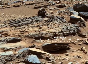 """Shaler"" outcrop at Gale Crater investigated by MSL Curiosity rover; Image Credit: NASA/JPL-Caltech/MSSS"