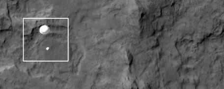 MSL Curiosity decent to Mars surface via HiRISE