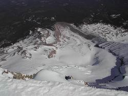 A view from the top of the Elliot Glacier Mt. Hood