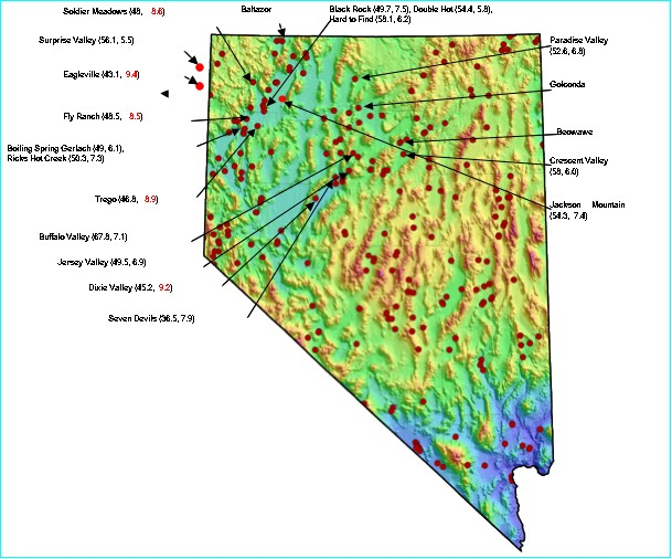 Map of Nevada showing thermal features.