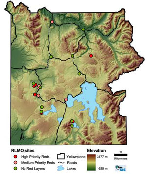 Map of RLMO sites in Yellowstone