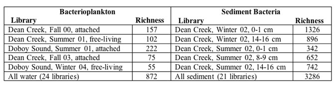 Estimated species richness in selected SIMO 16S rRNA clone libraries.