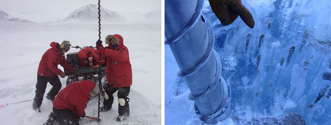 Drilling in McMurdo Dry Valleys and gas bubbles/sediment trapped in the ice.