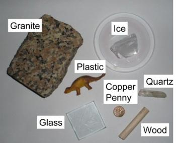 "Image of seven objects used in ""Is it a Mineral?"""